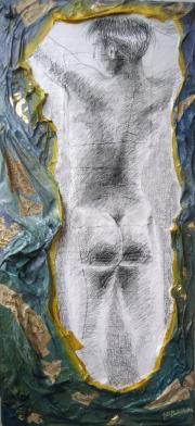 POSE, 100X46CM., PENCIL DRAWING ON PAPER AND OIL ON PAPIER MACHÉ