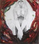 REPRESSED DESIRE, 75X65CM., PENCIL DRAWING ON PAPER AND OIL ON PAPIER MACHÉ